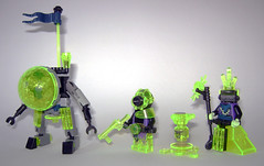 Green Neonites Squad (Unijob Lindo) Tags: brick green soldier robot neon shot lego crystal fig scanner space flag group scout aliens barf priest minifig forge slime custom joint goo humanoid mech neongreen minifigure minifigures mixel towball figbarf ninjago neonite