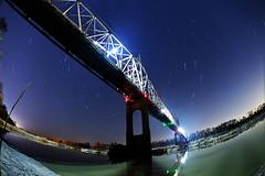 Crossing The Missouri (86Ladybird) Tags: longexposure bridge colors silhouette night river lights timelapse nikon different darkness panolover