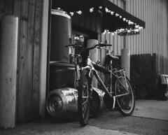 Bike Outside Tap Room (jeffk42) Tags: blackandwhite 120 film monochrome bicycle analog mediumformat outdoors taproom 6x7 filmisnotdead ilforddelta3200pro mamiyarz67proii orlandobrewing ranalog