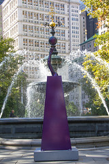 Hoop Schemes (Roblawol) Tags: park nyc newyorkcity autumn urban ny newyork art fall water fountain basketball purple cross arm cityhall balloon balance publicart cityhallpark fingertip