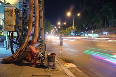 DSCF3240 (Mike Pechyonkin) Tags: 2016 vietnam вьетнам nhatrang нячанг street улица scooter мотороллер car машина house дом palm пальмаroad дорога girl woman девушка night ночь cyberpunk streetlight фонарь