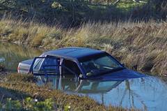 Submerged ! (David Blandford photography) Tags: calshot calshotbeach submerged southamptonwater volvo ditch hampshire