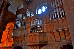 Raised organ area (James O'Hanlon) Tags: chester cheshire john baptist johnthebaptist church cathedral ruins norman medieval effigy stained glass chapel saint st