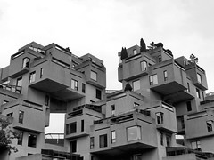 Habitat, Montreal, Quebec, Canada (duaneschermerhorn) Tags: architecture architect modern contemporary concrete brutalist brutalistarchitecture moshe safdie moshesafdie mcgill complex montreal canada quebec expo expo67 manandhisworld fair worldsfair design building graphic structure sky blocks units black white blackandwhite blackwhite bw