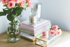 the office ([o] suze q) Tags: office glassbox pinkpetals roses books mercuryglass macarons raspberry crêpessuzetteacamera suzettegphotography canonmarklll 50mm12
