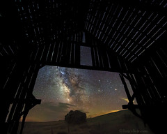 "Milky Way through old barn (IronRodArt - Royce Bair (""Star Shooter"")) Tags: oldbarn silhouette barn stcharles utah milkyway nightsky nightphotography nightscape starrynight stars universe"