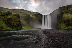 Night over Iceland (Franziska Liehl) Tags: iceland icelandic waterfall longexposure water landscape quiet peaceful powerful nature outdoor lonely night nighttime midnightsun mist misty clouds colorful sky river evening sunset