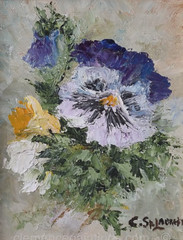 From me to you - oil on canvas -  5 x 4 (ra6mina) Tags: bouquet flowers pansies bluepansies flowerbud flowerspray oilpainting