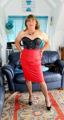 Red Skirt (Trixy Deans) Tags: crossdresser cd cute crossdressing crossdress classic classy tgirl tv transvestite transgendered transsexual tranny trixydeans tgirls transvesite trixy skirts skirt corset hot heels highheels high sexytransvestite xdresser sexy sexyheels sexylegs sexyblonde