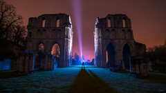 Lighting up Roche (Waving lights in the dark) Tags: abbey roche rocheabbey monk monks ruin abandoned collaboration grand scale north englishheritage english england cistercian pilgrimage bothered lightpaint ledlenser x21r2 godox ad360 backlight backlit torch beam lightbeam silhouette sonyzeiss sonya7 southyorkshire maltby night nightphotography afterdark