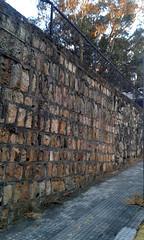 Barrio Aranjuez: un muro y una acera av.11a, c.13/ Aranjuez neighborhood: a wall and a sidewalk 11a av., 13th st. (vantcj1) Tags: patrimonio arquitectura diseño muro piedra baranda urbano vecindad acera calle edificio árboles vegetación cielo histórico