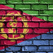 National Flag of Eritrea on a Brick Wall