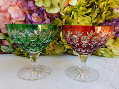AJKA Cut to Clear Crystal Sherbets Florderis Ruby Red Emerald Green (Donna's Collectables) Tags: red green crystal ruby sherbets ajka emeral