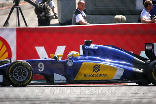 Marcus Ericsson's Sauber during the Green Flag lap before the 2015 Belgium Grand Prix