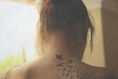 Take flight. (LauraJayneW) Tags: woman art texture girl birds tattoo lady female canon 50mm skin dslr 450d rebelxsi