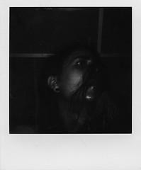 Out of the dark (Josu Sein) Tags: portrait blackandwhite selfportrait men monochrome polaroid surrealism expressionism