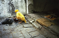 The keeper of the temple in Kathmandu, Nepal
