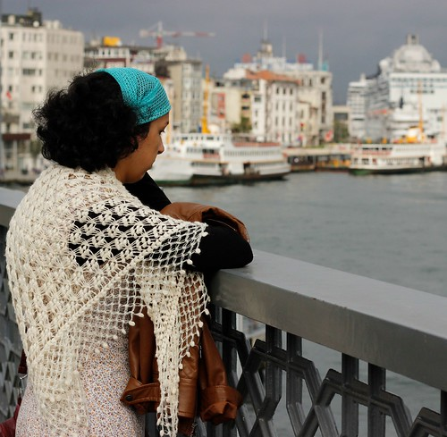 Woman on Galata Bridge