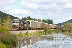 NS 9913, eb 28N, Swain, NY. 9-14-2015 (jackdk) Tags: railroad train ns railway swamp erie ge southerntier norfolksouthern swain c40 emd c409w c409 locomtive emdsd60m 28n gelocomotive emdsd60 swainnewyork