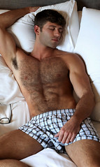 991 (rrttrrtt555) Tags: sleeping shadow hairy armpit muscles hair beard glasses bed bedroom arms underwear legs sleep buttons chest lounge curls sheets pillow briefs sideburns shorts shoulders flex plaid stubble
