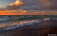 Lake Michigan (mswan777) Tags: blue autumn sunset sky orange lake seascape color beach nature water clouds sand nikon waves michigan great shoreline lakes 1855mm nikkor polarizer d5100