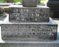 Lt. Alexander Wald MC's grave - before a clean up. (David Pretswell.) Tags: england grave memorial war hero adelaide ww1 aussie pilot raf newcastleupontyne rfc jesmond 19141918 militarycross standrewscemetery