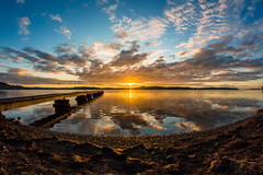 Marmong Point Sunrise (LivingStone Images) Tags: reflection clouds sunrise fisheye 8mm hdr lakemacquarie 2015 samyang marmongpoint