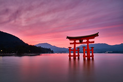The Great Torii (Eddie HBH) Tags: longexposure sunset seascape japan landscape religion miyajima