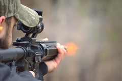 Steady, and Fire (JamesPollock3) Tags: fire gun shoot rifle barrel flame weapon automatic shooting moment burst bang protection mechanism ar15