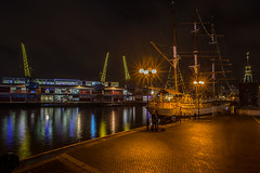 Night rendezvous..... (Dafydd Penguin) Tags: bristol floating harbour harbor port dock ship vessel kaskelot sailing water love couple night shots after dark lights long exposure slow shutter speed tripod urban city centre harbourside waterside sea meeting rendezvous nikon df nikkor 20mm af f28d