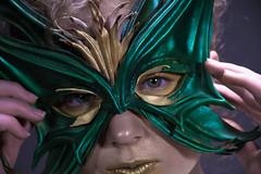 (Taran W) Tags: makeup mask green eyes gold lips people portrait portraiture face hands light shadows indoor