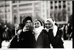 Selfies (johnlishamer.com) Tags: 2017 35mm bw december eastmanso331 fpp filmphotographyproject hc110 lishamer millenniumpark nikonfa slr chicagoil cloudgate film johnlishamercom people portraits selfies thebean winter