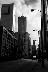 Shaft of light (dharder9475) Tags: 121westwacker 2016 grayskies oneeleven architecture bw blackandwhite building chicago cloudy dark explored highcontrast lasallestreet overcast privpublic rivernorth street taxi