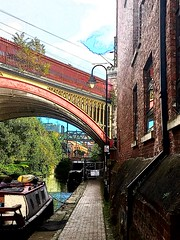 By the canal (Purple Tomato Images) Tags: canal boats railway bridge tow path