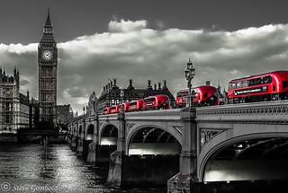 Red Buses over Westminster Bridge