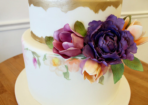 Close up of Sugar Flowers and Hand Painted Florals