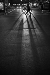 Headlights in the night (Bjarne Erick) Tags: headlights silhouette human shadows bicycle walk crossing street fuji x100t tcl 33mm blackwhite blackandwhite bw noirblanc