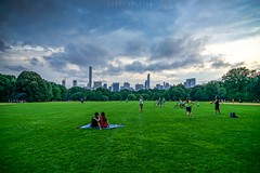 Romance in Central Park (dannygreyton) Tags: usa newyork centralpark clouds skyline sky skyscraper summer grass greatlawn people city urban