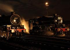 BH 52742cr (kgvuk) Tags: barrowhill roundhouse engineshed railways trains steamtrain locomotive steamlocomotive steamengine nightphotography 45305 460 black5 5mt leander 45690 5xp jubileeclass