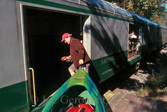 All Aboard (Joe Geronimo) Tags: adirondacks adirondack railroad oldforge newyork canoe kayak kodak kodachrome film travel usa photograph photography train depot station moose river