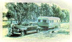 moving on up HSS (Dotsy McCurly) Tags: dad father moving up car trailer old photo black white scan colorized texturized adobe photoshop topaz carsandothervehicles smileonsunday hss happysliderssunday