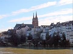 Basel/Schweiz - Blick auf Grossbasel (Jorbasa) Tags: jorbasa hessen geotag germany deutschland schweiz basel stadt altstadt grossbasel münster rheim kirche church cathedral rhine mauer brücke schweis kleinbasel switzerland