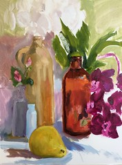 A Nice Variety (Handwork Naturals) Tags: light colors dailypainting stilllife everyday simple bottles pear orchid glowing amber antique
