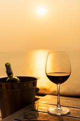 DAN_2418 (Mangpink) Tags: wineglass winebottom drink dinner sunset celebrate anniversary romantic moment feeling sea ocean love alhohol romance honeymoon nobody background golden party wine sunny sweet sillhoueet merlot concept food beach champagne
