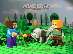 Redheads RULE. (woodrowvillage) Tags: sky alex field clouds toy wolf village lego steve mini legos figure woodrow minifigure moc mojang minecraft minecrap