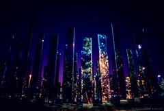 """Mirror-henge"" at Night, BK Bridge Park (Raphe Evanoff) Tags: nyc sunset summer sky film skyline brooklyn night canon twilight manhattan"