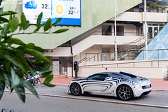 Rear 3/4 - Vitesse #001 (Slybreton) Tags: blue white speed or montecarlo monaco carlo monte bugatti blanc 001 veyron vitesse carspotting orblanc