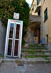 Cervo Booth (eSrO Foto) Tags: door italy tree window stone modern booth stair phone outdoor phonebooth vine medieval cervo