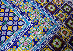 mosaic pattern with ceramic tiles in shapouri garden house, Fars Province, Shiraz, Iran (Eric Lafforgue) Tags: house art heritage history horizontal architecture tile ceramic day pattern iran mosaic decoration middleeast multicoloured persia nobody nopeople indoors tiles shiraz tradition ornate orient coloured artandcraft persiangulfstates historicallandmark   17201 colourimage  iro iranianculture  farsprovince westernasia  shapouri