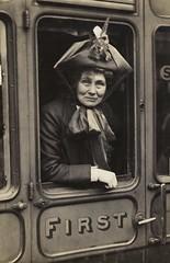 Emmeline Pankhurst at Waterloo Station, c.1910.
